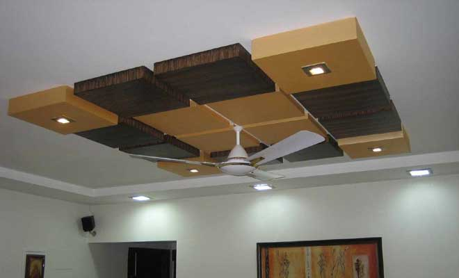 False Ceiling with Wood Design