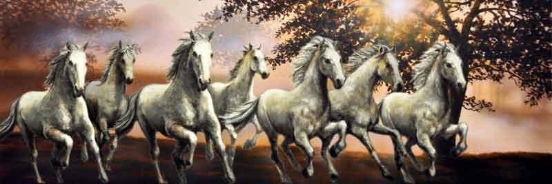 7 Running Horses Painting  Excited Animall HD Wallpaper