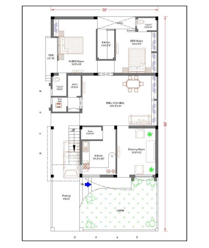 30 feet by 60 feet 30x60 house plan decorchamp