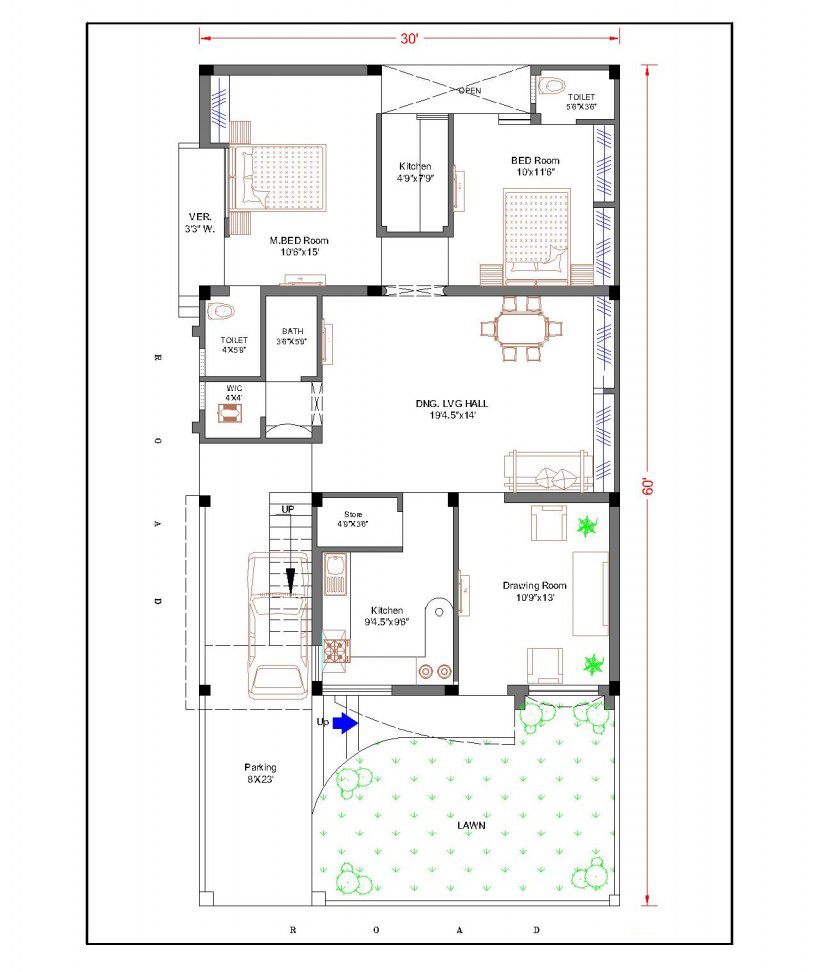 30 feet by 60 feet 30x60 house plan decorchamp for 60s house plans